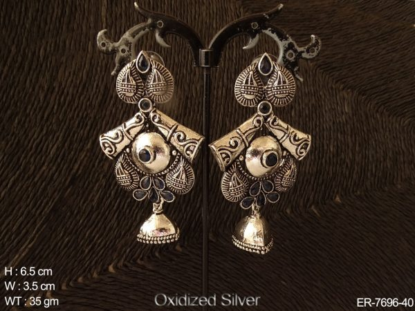 Koyari oxcid silver antique earring