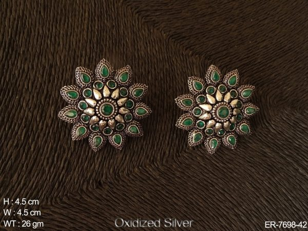 Paan round stone flower antique tops earring