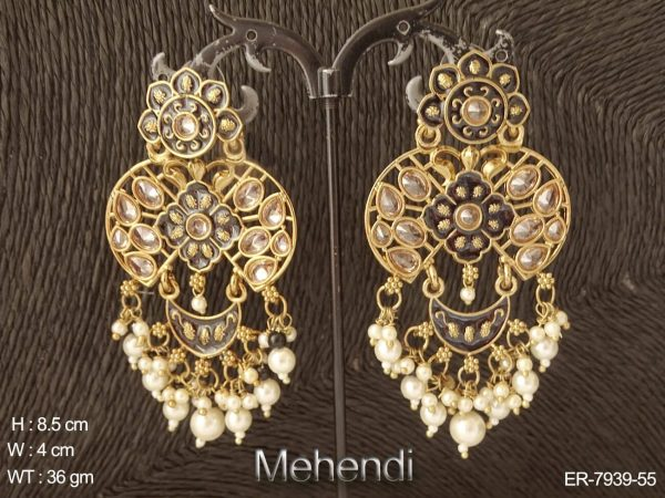 Lct stone meena long antique earring