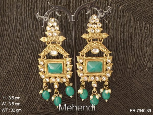 Exclusive beads drop long antique earring