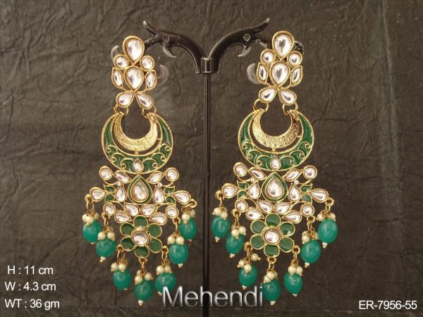 Chand shape beads delicate antique earring