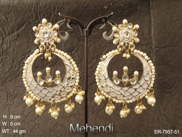 Green meena kari long delicate antique earring
