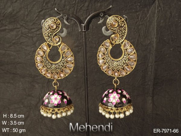 Koyari circle design antique jhumka earring