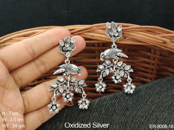 White paan stone flower with leave design antique earring