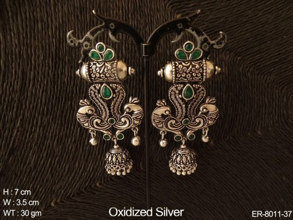 Couple peacock oxcid silver long antique earring