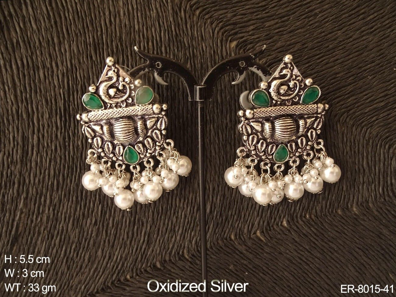 Peacock clustered pearl antique earring