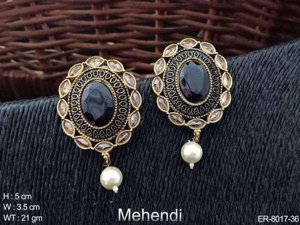 Oval fancy tops antique earring