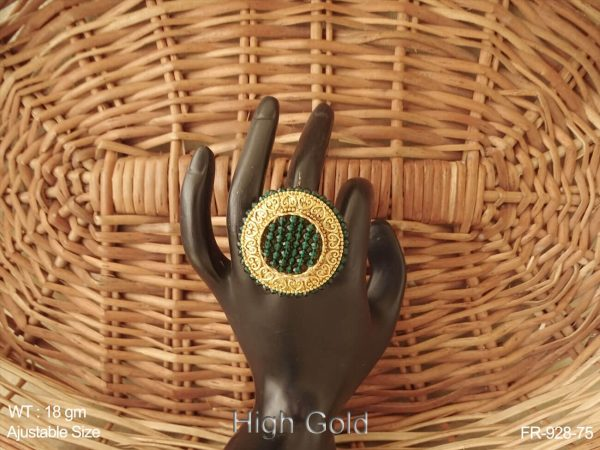 Crystal moti curve ruby green antique finger ring