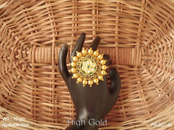 Curve flower high gold antique finger ring