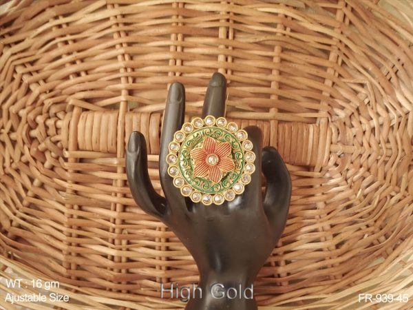 Gheru polish flower design antique finger ring