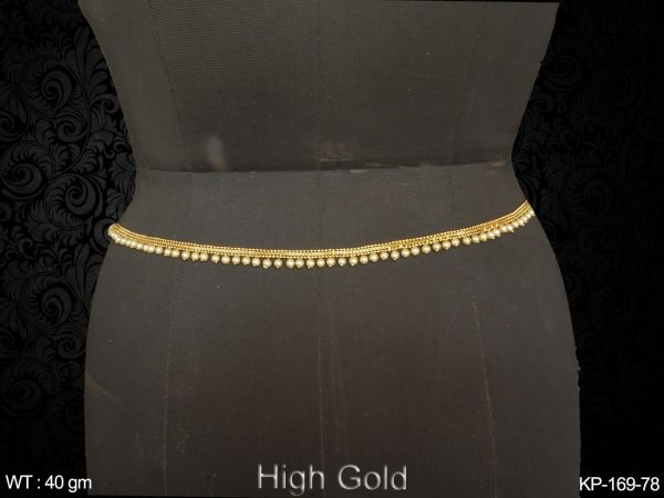 Thick chain with pearl one line antique kamar patta
