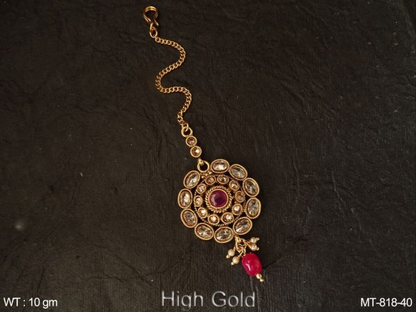 Lct ruby oval stone delicate antique maangtikka