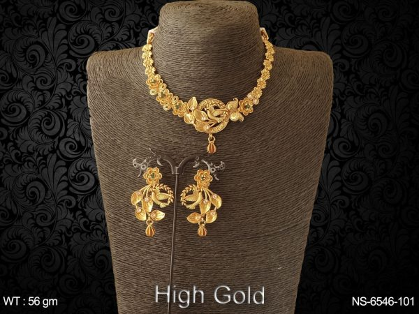 Birds high gold delicate antique necklace set