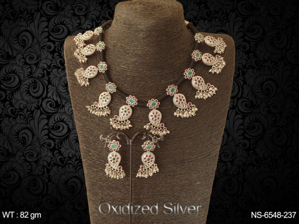 Black thread koyari design antique necklace set