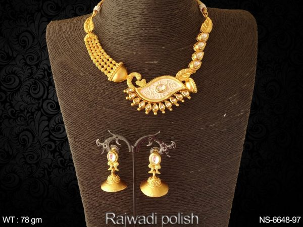 Paan leave peacock antique necklace set