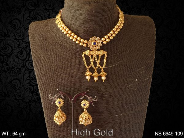 Fancy golden beads paan stone antique necklace set
