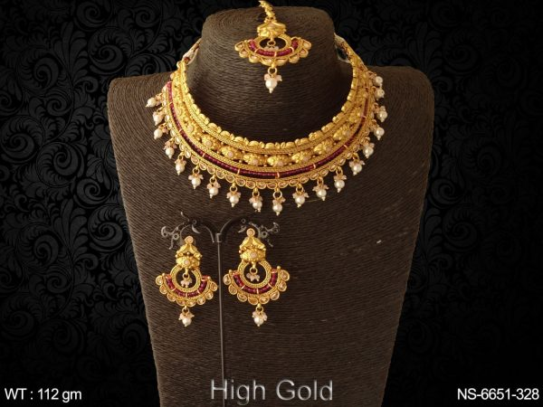 Pearl drop chokar antique delicate necklace set