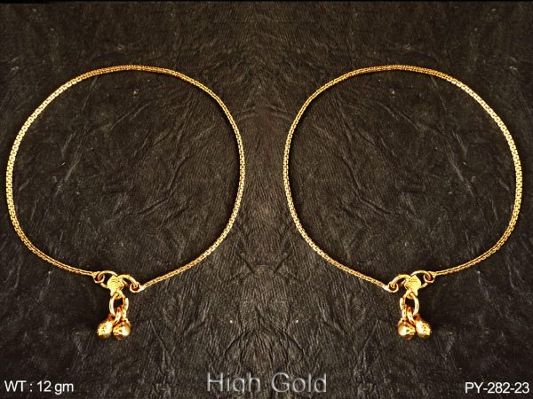 Delicate chain one line high gold antique payal