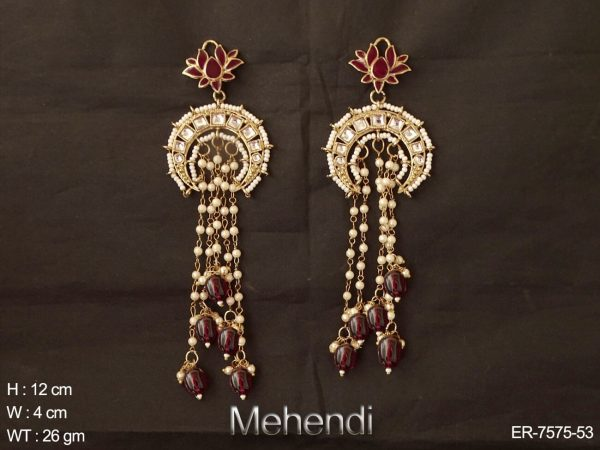 Lotus design long chain antique earring