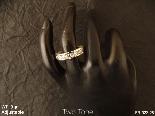 Round one line two tone AD finger ring