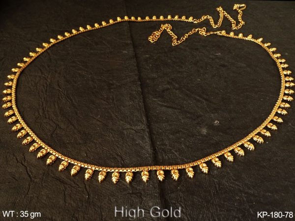 Fancy gold finish belly chain leaf design antique kamarpatta