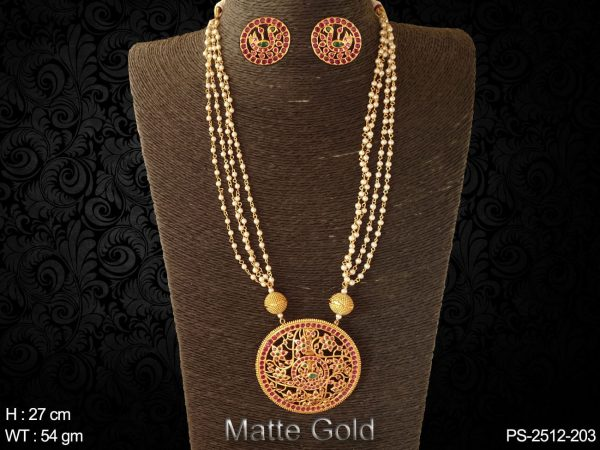 Peacock flower full stone matta polish kemp pendant set