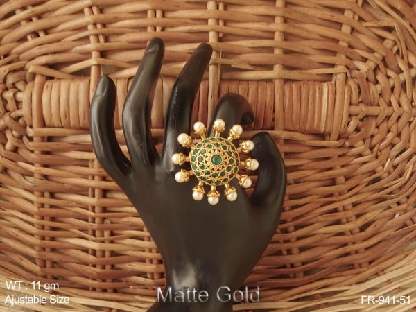 Pearl boader flower design full stone antique finger ring