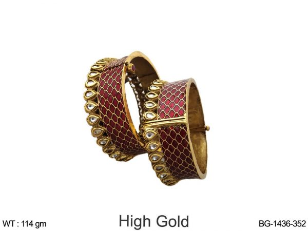 Kundan maroon bridal bangle