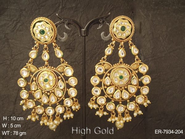 Bollywood bridal heavy pearl drop kundan earring