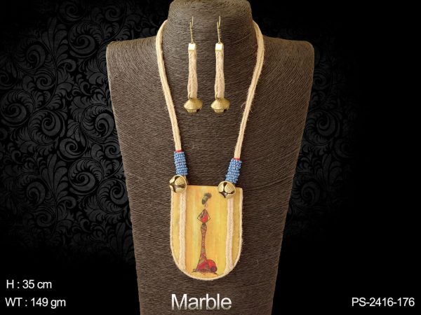 Marble lady design marble pendant set