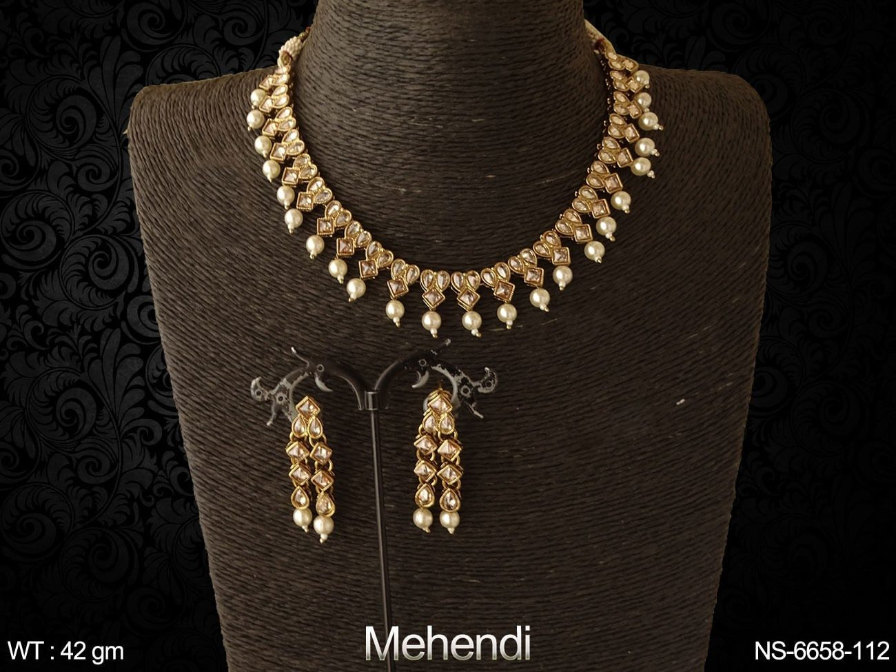 Princess with paan delicate full stone polki necklace set