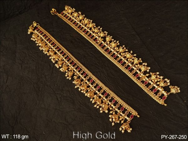 Anklets chain jhumka clustered pearl antique payal