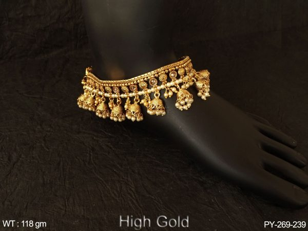 Anklets chain jhumka clustered Lct stone antique payal