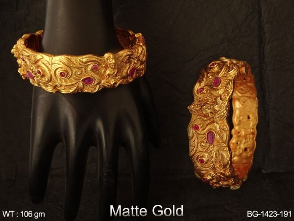 Laxmi mata peacock matta gold temple bangle