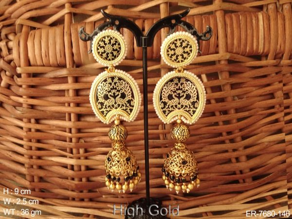 Couple peacock black thewa earring