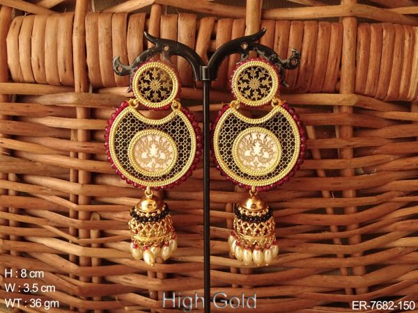 Couple rani peacock thewa earring