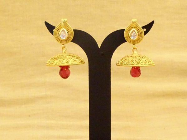 jhumki hat moti paan phool antique earring