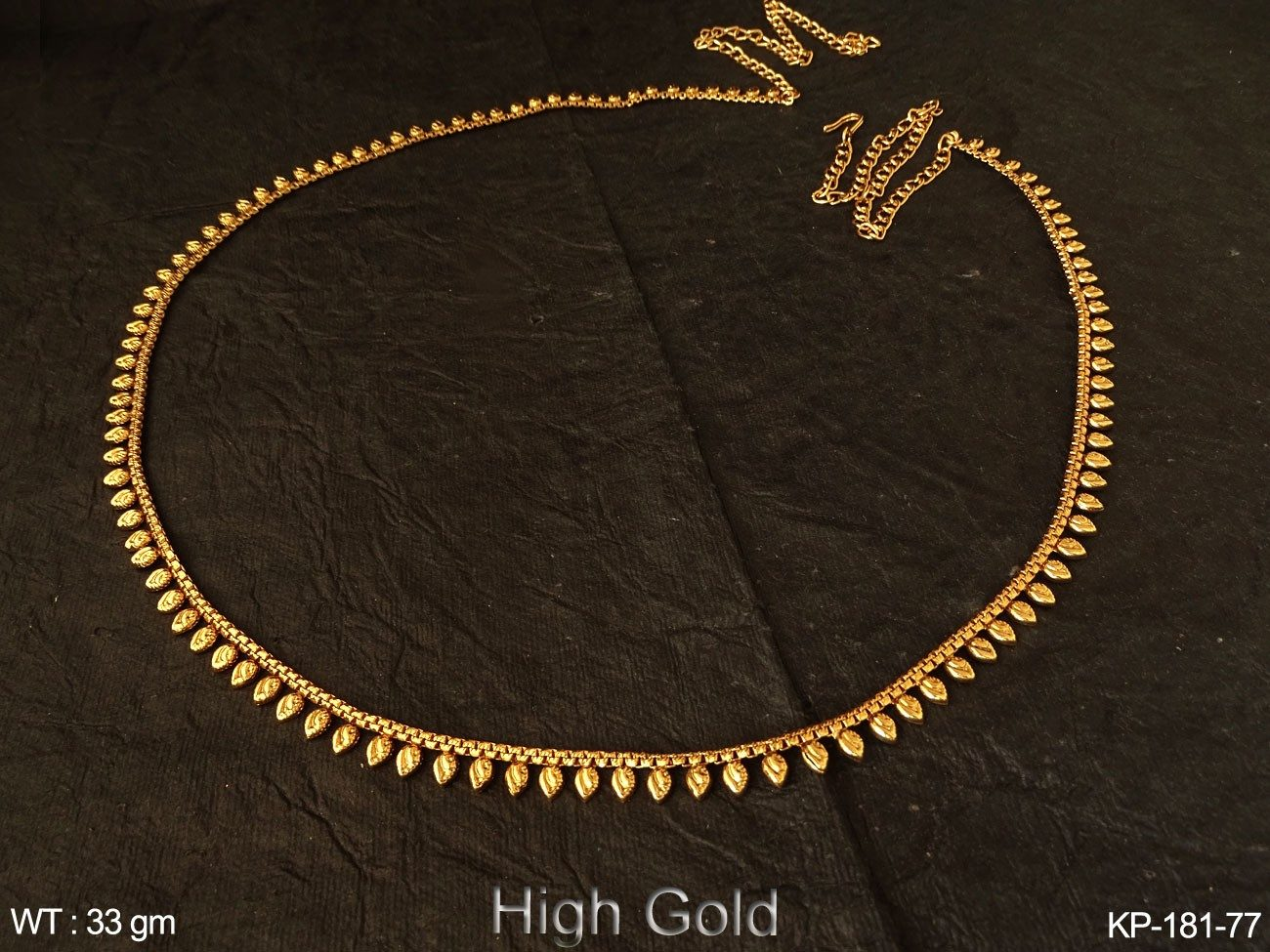 Fancy gold finish belly chain paan design antique kamarpatta