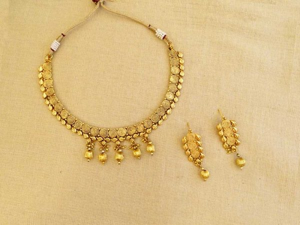 spiral linked multi moti drop antique necklace set