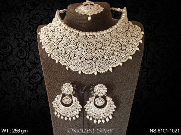 Wedding wear full lct stone chokar heavy Silver pearl drop necklace
