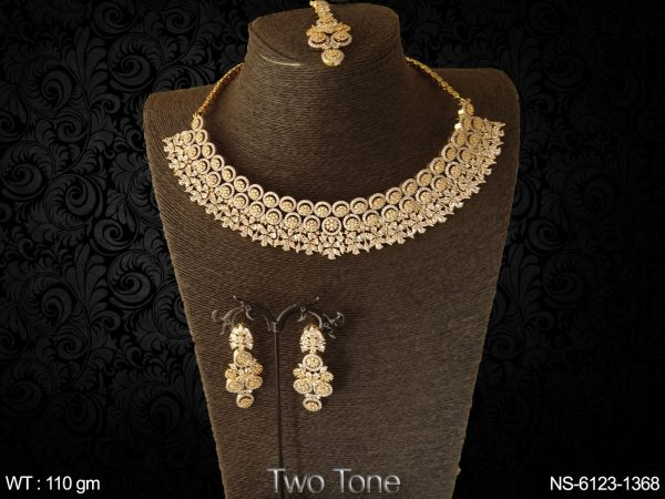 Flower chokar AD daimond bollywood two tone necklace