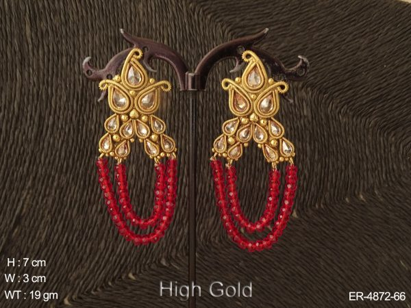 Dual Layer Moti Polki Earrings