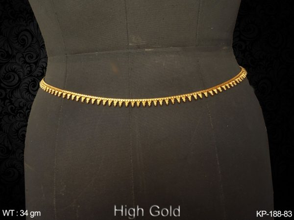 Fancy gold finish belly chain trangle delicate design antique kamarpatta