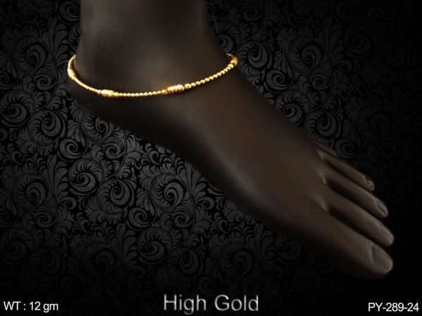 High gold simple line anklet antique payal
