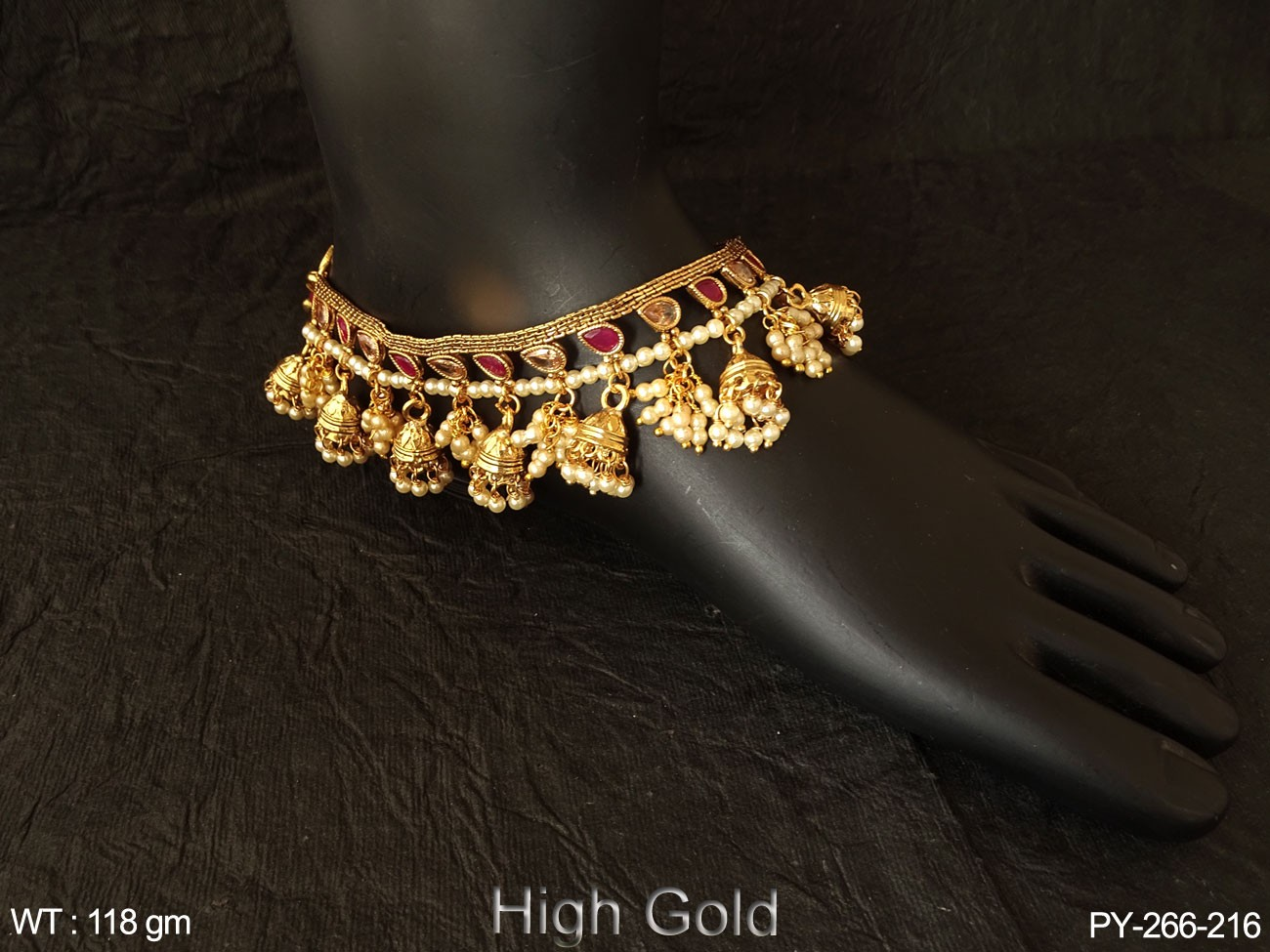 Anklets chain jhumka antique payal