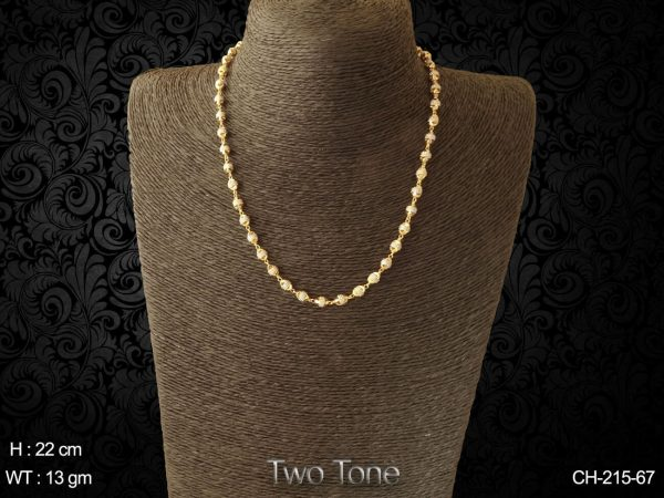 Silver golden beads delicate long antique chain
