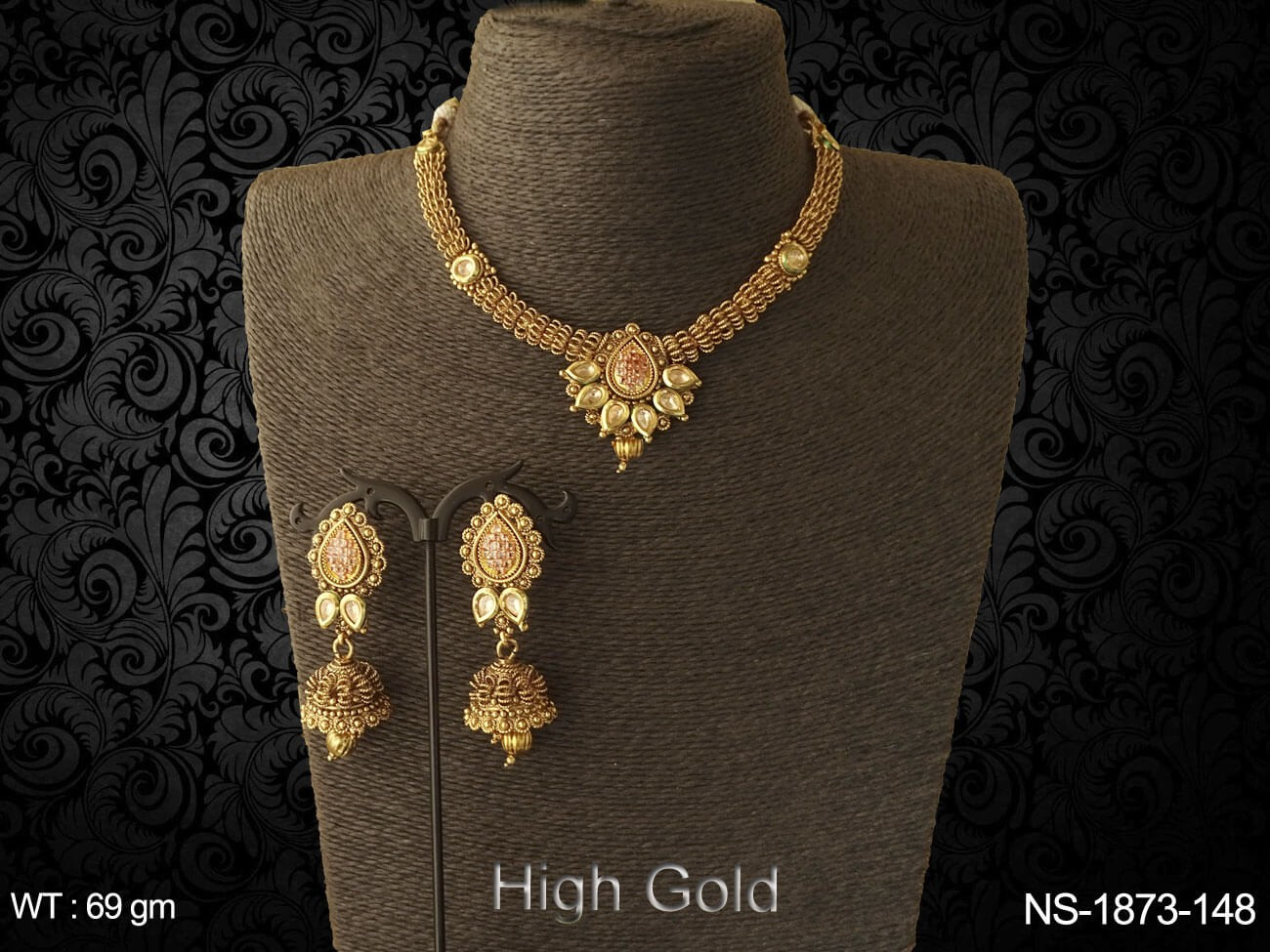 paan base flower traditional antique neckalce