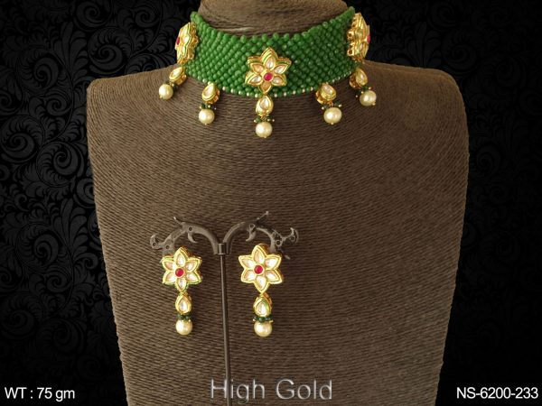 Traditional mala type patti flower antique necklace