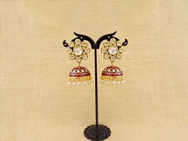 Round Flower Jhumki Kundan Earrings