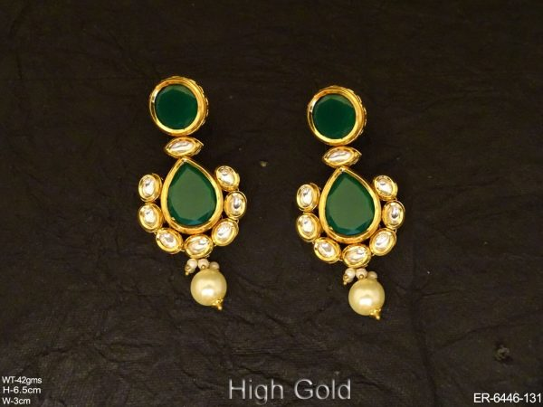 Paan Shape Full Stoned Kundan Earrings